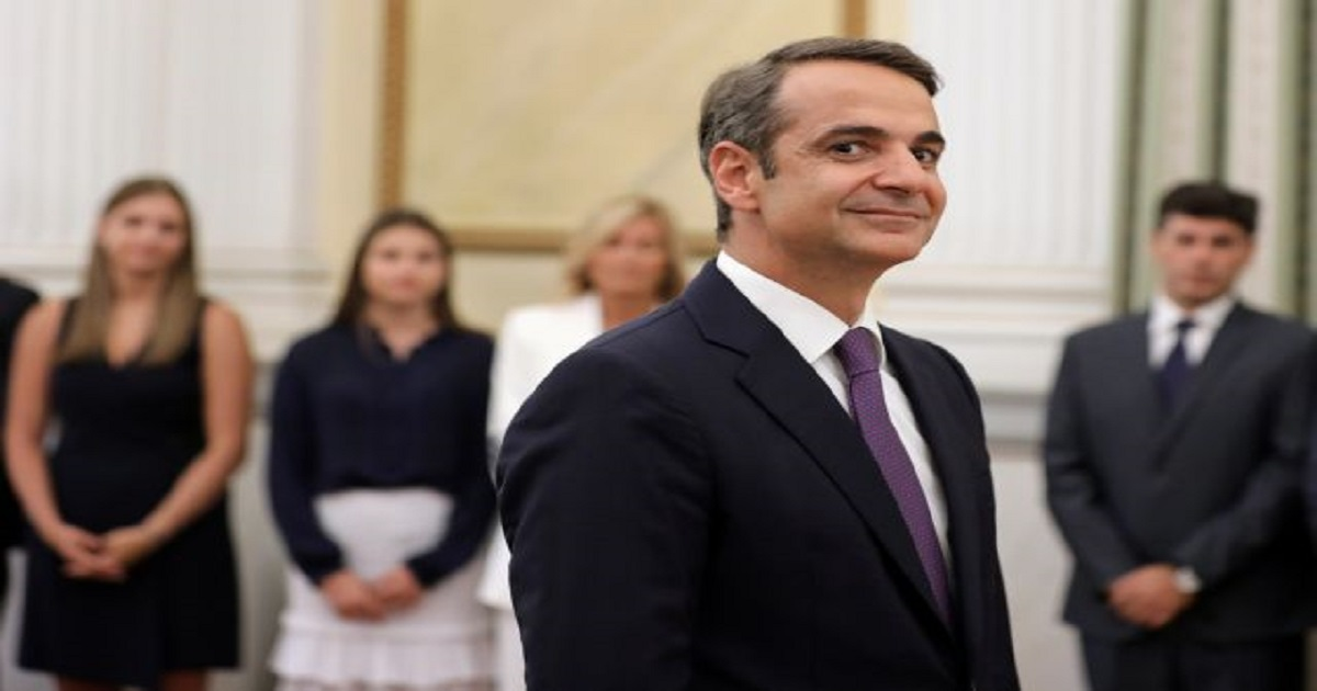 Leader of New Democracy conservative party and winner of Greek general election Kyriakos Mitsotakis reacts during a swearing-in ceremony as prime minister at the Presidential Palace in Athens, Greece July 8, 2019. REUTERS/Alkis Konstantinidis