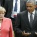 German Chancellor Angela Merkel and U.S. President Barack Obama arrive for a family picture at the G7 summit at the Elmau castle in Kruen near Garmisch-Partenkirchen, Germany, June 8, 2015. Leaders of the Group of Seven (G7) industrial nations vowed at a summit in the Bavarian Alps on Sunday to keep sanctions against Russia in place until President Vladimir Putin and Moscow-backed separatists fully implement the terms of a peace deal for Ukraine.         REUTERS/Christian Hartmann  - RTX1FMGK