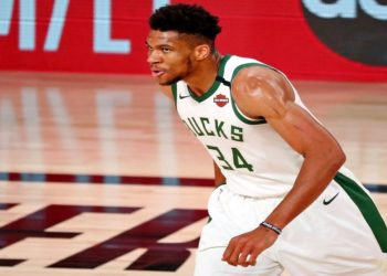 Sep 6, 2020; Lake Buena Vista, Florida, USA; Milwaukee Bucks forward Giannis Antetokounmpo (34) reacts after a play against the Miami Heat  during the first half of game four of the second round of the 2020 NBA Playoffs at ESPN Wide World of Sports Complex. Mandatory Credit: Kim Klement-USA TODAY Sports
